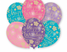 "6 Latex-Ballons ""Happy Birthday Floral"""